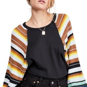 NWT Free People Rainbow Dreams Henley Thermal Top